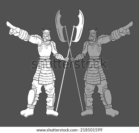 Metal soldier - stock vector