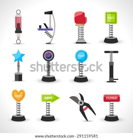 Metal spring devices set with shock absorber and bounce spiral isolated vector illustration - stock vector