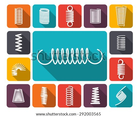 Metal spring icons colored icons flat set isolated vector illustration - stock vector