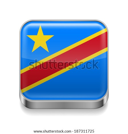 Metal square icon with flag colors of Democratic Republic of the Congo - stock vector