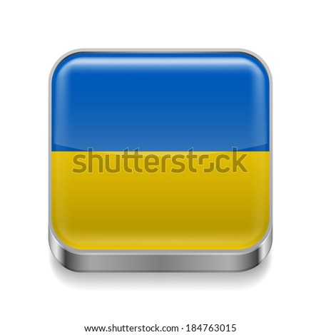 Metal square icon with Ukrainian flag colors