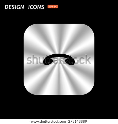 metal square with rounded corners button on a black background. challenge, to end the call. icon. vector design - stock vector