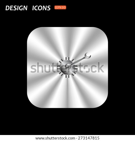 metal square with rounded corners button on a black background. Cog Settings. icon. vector design - stock vector