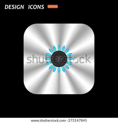 metal square with rounded corners button on a black background. gas burner gas stove. icon. vector design - stock vector
