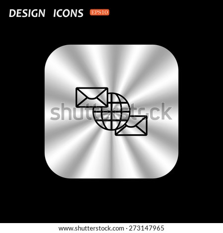 metal square with rounded corners button on a black background. Internet e-mai, envelope lette, Globe. icon. vector design - stock vector