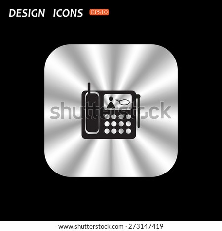 metal square with rounded corners button on a black background. phone. icon. vector design - stock vector