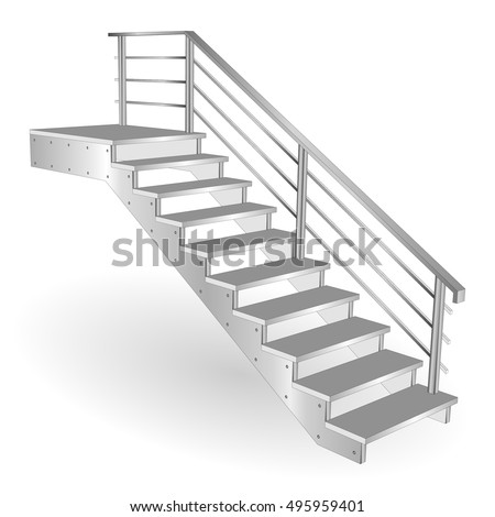 Metal Stairs. Sample Staircase 3d Isolated With Chrome Railing. Vector  Illustration On A White