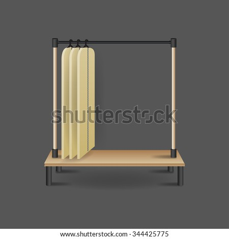 Metal stand with blank shirts hanging, isolated on background.  - stock vector
