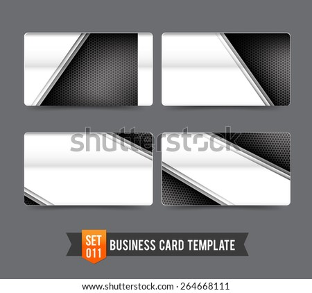 Metal steel technology concept and honneycomb element - business card template vector illustration - stock vector