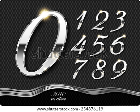 Metal stylish digits, with shadow and reflections. Set. Zero 0 One 1 Two 2 Three 3 Four 4 Five 5 Six 6 Seven 7 eight 8 nine 9. vector