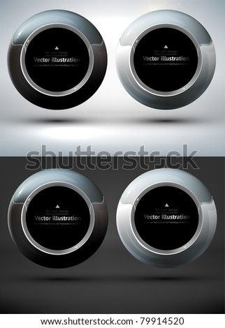 Metal techno banner for business design or for speech bubble. - stock vector