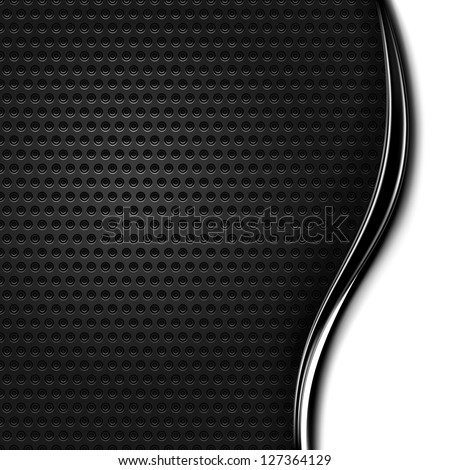 Metal texture perforated. Variant 04 - right. Blank space for text or sign. Black, white background with chrome wave strip in modern industrial style. Vector illustration design element 10 eps - stock vector