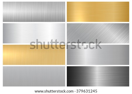Metal textures. Vector collection of metallic textures, panels and banners for your design and ideas. - stock vector