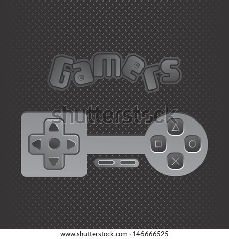 metal theme game console button - stock vector