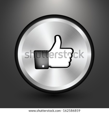Metal thumbs-up button icon design, Vector image on grey background.