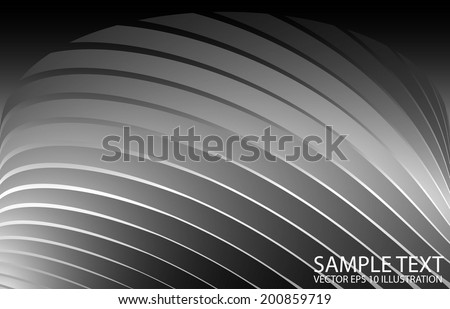 Metal vector abstract curved background stripes - Vector background abstract silver illustration reflected - stock vector