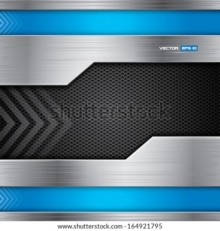 Metal vector background with steel and blue colors - stock vector