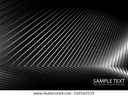 Metal vector  surface curves  lighted and reflected - Silver metal vector background illustration  - stock vector