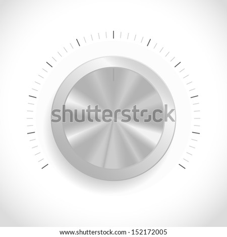 Metal volume button (music knob) - Vector illustration