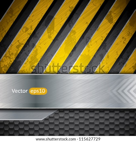 Metal warning stripes vector background - stock vector
