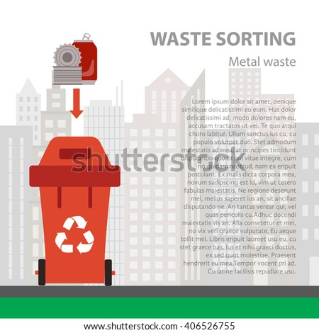 Metal waste sorting flat concept.  Vector illustration of metal waste. Metal waste recycling categories and garbage disposal. Metal waste types sorting management . - stock vector