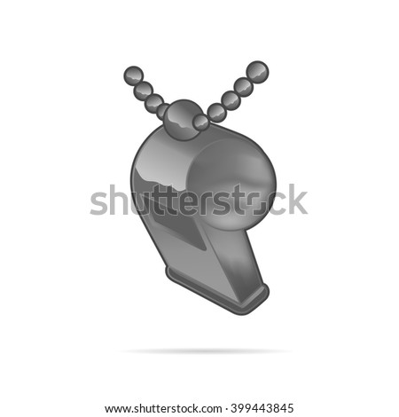 Metal whistle with chain isolated on white background, realistic vector illustration - stock vector