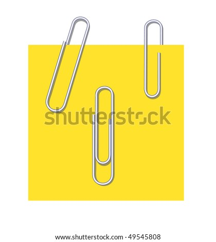 Metal writing paper clips  for use in design - stock vector