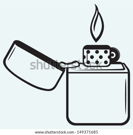 Metal zippo lighter isolated on blue background - stock vector