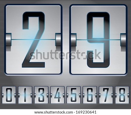 Metalic Mechanical Scoreboard With Blue Light Effect - stock vector