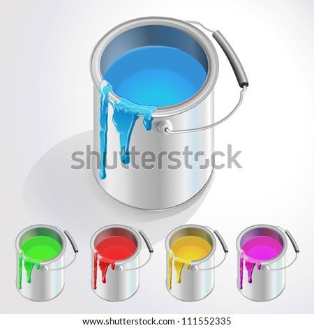 metall bucket with paint - stock vector