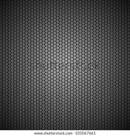 Metallic abstract backdrop with hexagon grid texture - stock vector