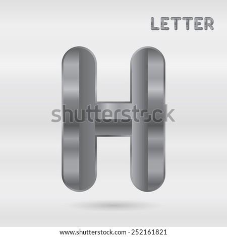 Metallic alphabet. Set of stainless 3d letters. Vector letter H. - stock vector