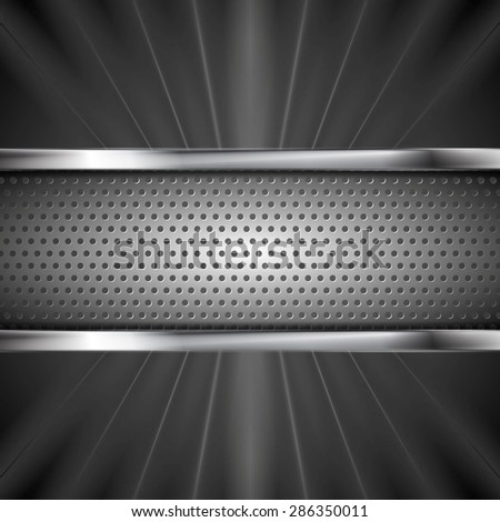 Metallic aluminum perforated banner and dark beams. Vector steel design - stock vector