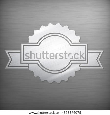 Metallic award sign, vintage stile on grey, vector illustration - stock vector