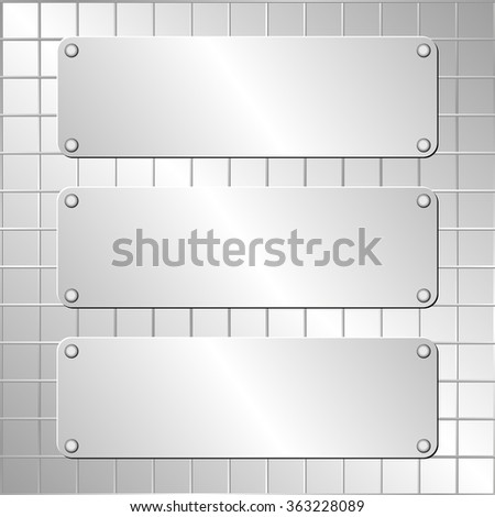 metallic background and three plaques - stock vector