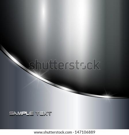 Metallic background polished steel texture, vector. - stock vector