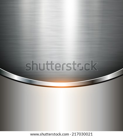 Metallic background polished steel texture, vector. - stock vector
