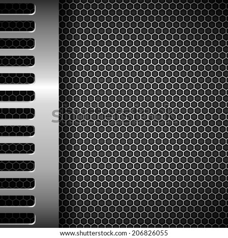 Metallic background with honeycomb grid - stock vector
