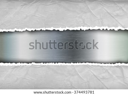 metallic background with torn paper and place for text - stock vector
