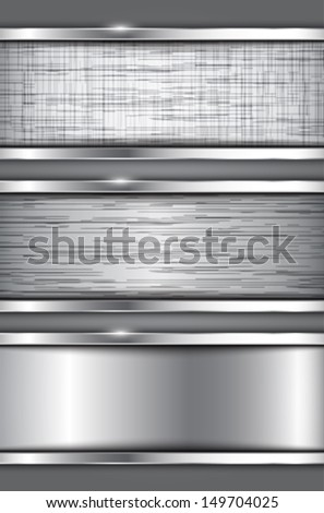 Metallic banners. Abstract textured backgrounds. Vector illustration - stock vector