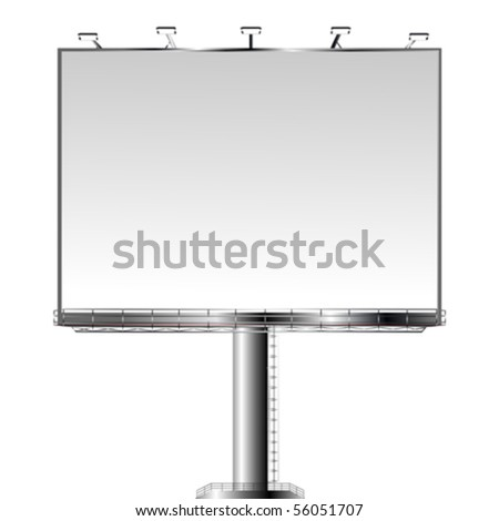 Metallic billboard on white background