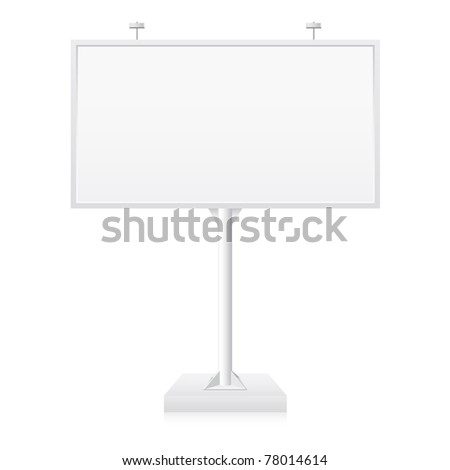 Metallic billboard with place for your text. Illustration on white background - stock vector