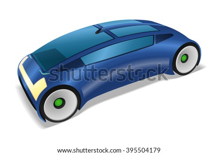 metallic blue futuristic design vehicle, future automobile, concept car, fuel cell vehicle, mirrorless car, vector illustration - stock vector