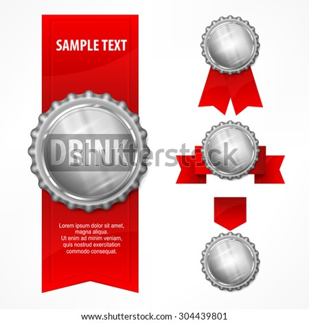 Metallic bottle caps with red ribbon on white background, vector illustration - stock vector