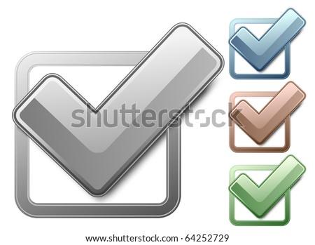 Metallic check boxes with check marks - stock vector
