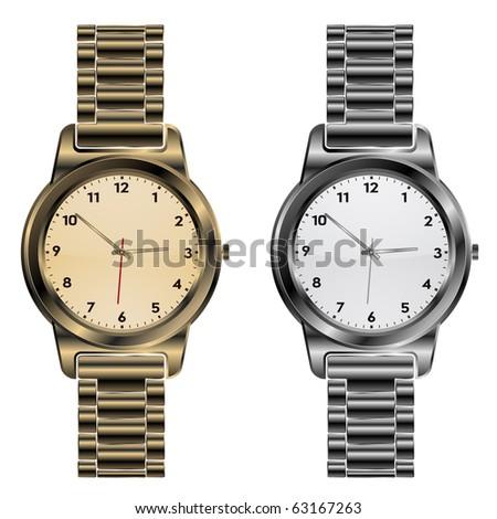 metallic clock - stock vector
