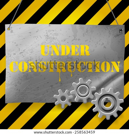 Metallic crumpled and spotted signboard with gearwheels. Under Construction Background. Vector illustration - stock vector