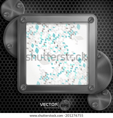 Metallic Frame With Screws On Abstract Metallic Background. Vector Illustration. Eps 10
