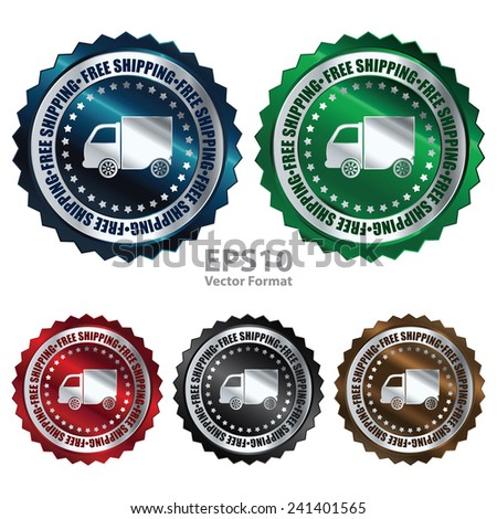Metallic free shipping icon, tag, label, badge, sign, sticker isolated on white, vector format - stock vector