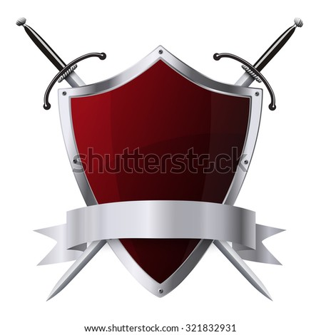 Metallic glittering red shield and two swords with ribbon placed on white background - stock vector